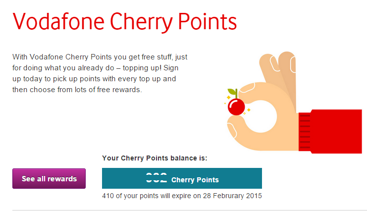 Vodafone Payg Top Up >> Vodafone Cherry Points Swap It Or Lose It Lactronics